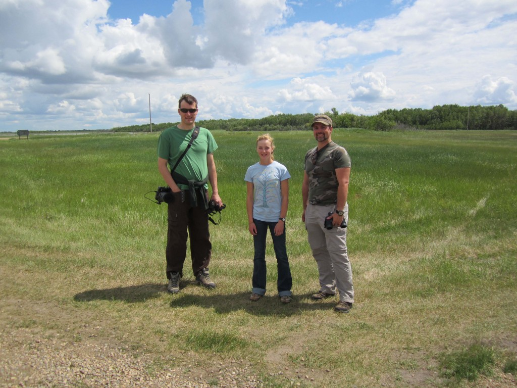 David Pugh, Charlotte Wasylik, and myself with some big Alberta sky in the background - Photo by Charlotte's mom, used with permission -