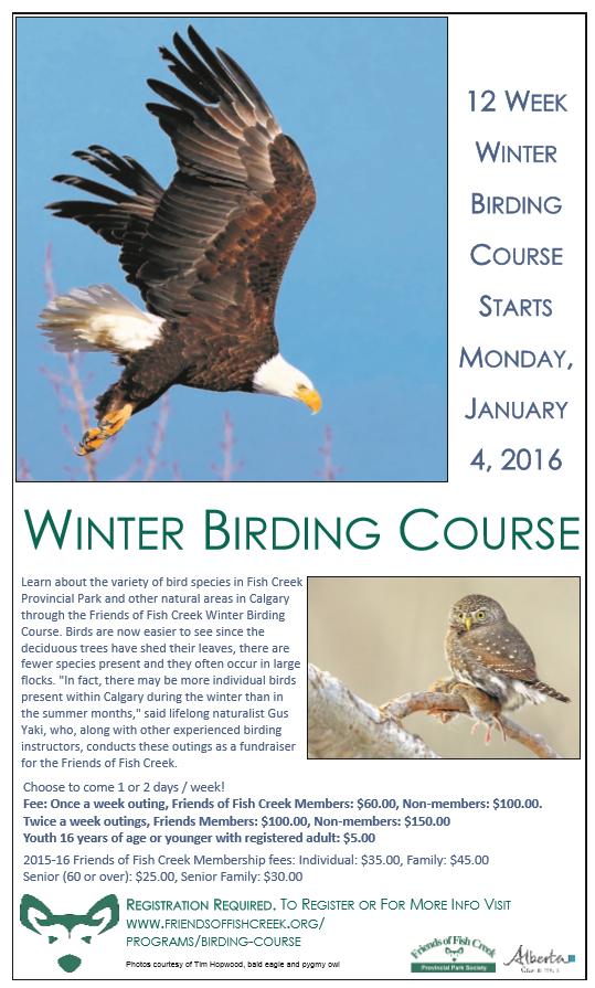 2016 Winter Birding Course Poster